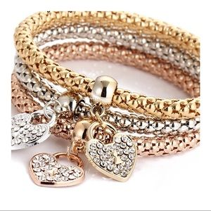 Jewelry - ❤️3 pcs set crystal charm multilayer bracelets